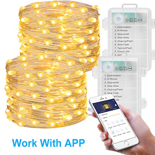 MINGER 16.4Ft Fairy Light Battery Operated 2 Pack, Led String Light with APP Waterproof Flexible for Christmas Home Wedding Festivals Parties-Warm White