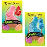 Russell Stover Easter Sours! Blue Raspberry And Watermelon Bunny - 3 Ounces, Bundle