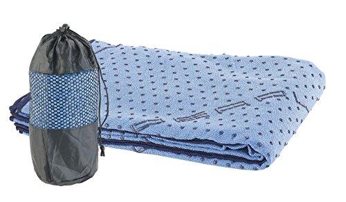 PEARL sports Handtuch für Sportmatte: 2in1-Mikrofaser-Yoga-Handtuch & Auflage, saugfähig, rutschfest, blau (Handtuch für Gymnastikmatte)