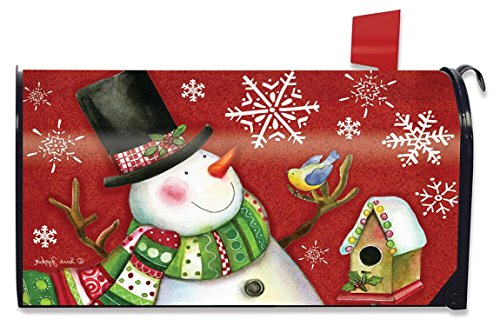 Snowman on Red Background with Snowflakes Magnetic Mailbox Cover