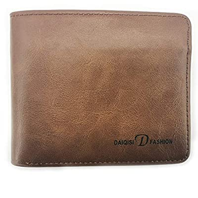 YOUKAI Mens Faux Leather Wallet Long Bifold Slim Checkbook?Credit Card (Brown)