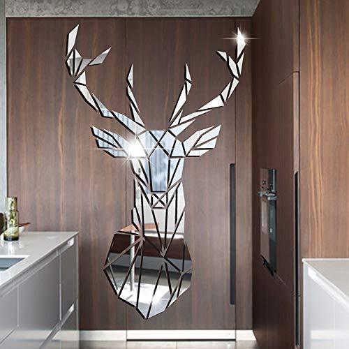Haus Dekoration 3D-Spiegel-Wand-Aufkleber Acryl-Aufkleber Big DIY Deer Dekorative Spiegel Wand-Aufkleber for Kinderzimmer Wohnzimmer Wohnkultur (Color : Silber, Size : S 43cm by 26cm)