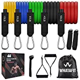 Whatafit Resistance Bands Set (11pcs), Exercise Bands with Door Anchor, Handles, Waterproof Carry Bag, Legs Ankle Straps for Resistance Training, Physical Therapy, Home Workouts