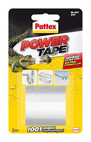 Pattex Power Tape Reparatur-Klebeband in Box / Extra starkes, wasserfestes Klebeband in Weiß für innen und außen / 1 x 5m