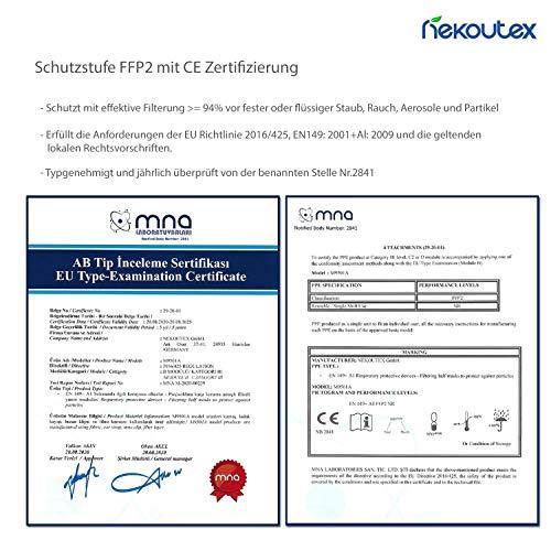 FFP2 Premium Atemschutzmasken in hygienischer luftdichter Einzelverpackung vom Deutschen Hersteller, 4-Schichten Schutz der Atemwege mit CE (NB2841), 10 STK. - 4
