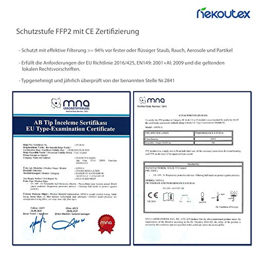 FFP2 Premium Atemschutzmasken in hygienischer luftdichter Einzelverpackung vom Deutschen Hersteller, 4-Schichten Schutz der Atemwege mit CE (NB2841), 10 STK. - 6