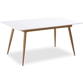 Happy Garden Ensemble Table Extensible 120//160cm et 6 chaises scandinave Blanc Nora