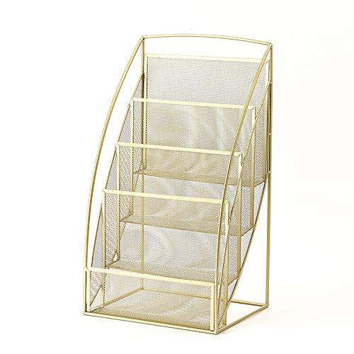 Porte-revues 69cm de Hauteur Porte-revues de Journaux, Au Sol Stockage de Matériel de Lecture pour Salon/Chambre/Bureau, 4 Niveaux (Color : Gold)