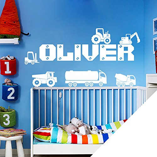 Personalised Name Boys Wall Art Sticker - Lorry, Trucks, Tractor, Digger, Builder Cars [White]