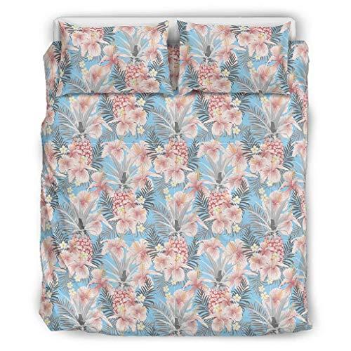 Bannanabut Juego de colcha de 3 piezas con diseño de plantas tropicales y flores, suave, cómodo, ligero, con fundas de almohada para todas las estaciones, color blanco 104 x 90 pulgadas