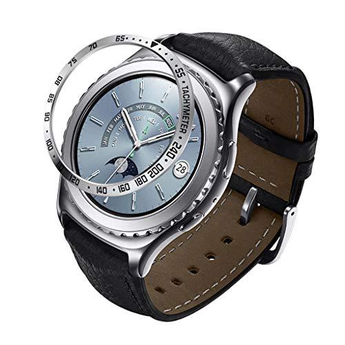 Eariy Edelstahl uhrenring,Klebeband Anti Scratch Classic Ring Kompatibel mit für Samsung Gear S5, Klebstoffabdeckung edelstahlschutzhülle Styling Uhrenring