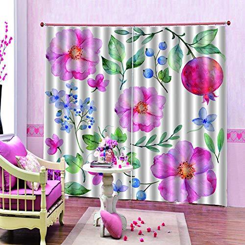 Cortinas Opacas Cortina Reducir El Ruido - Flor De Hibisco Rosa Tinta - Modernos Cortinas Adecuado para Oficina Empresa Balcon Salón Habitación Dormitorio - 110X215Cm * 2 Partes