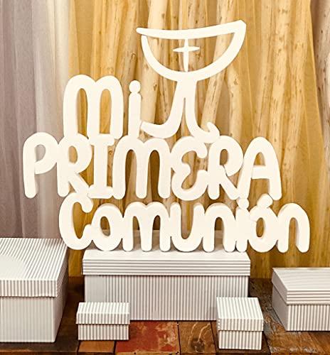 Letras Mi Primera Comunión en Corcho con Imagen de Cáliz. Perfectas para Decorar Fiestas de Comunión.
