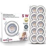 LED Einbauleuchten schwenkbar ultra flach inkl. 10 x LED-Modul 5W 450lm 3000K warmweiß Einbaustrahler Matt Nickel IP23
