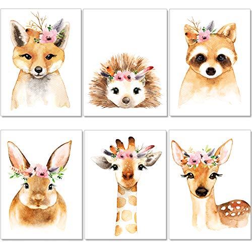 artpin® 6er Set Poster Kinderzimmer - A4 Bilder Babyzimmer - Boho Deko Mädchen Wandbilder P39