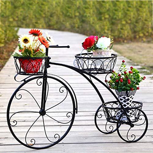 Teakpeak Blumenregal Pflanzenständer Kreativ Fahrrad Pflanzenständer Blumentopf Halter für Heimdekoration – Schwarz L