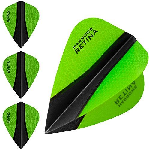 HARROWS retina-x Dart Flights–5sets (15)–100micron Extra Stark–Kite–Grün