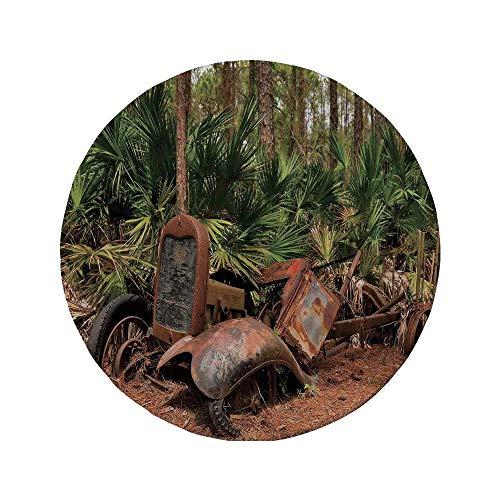 Alfombrilla de ratón Redonda de Goma Antideslizante decoración rústica para el hogar camión de Mula de Tractor Oxidado en el Bosque con Imagen de Palmeras Tropicales Verde marrón 7.9