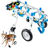 HobeyHove Adjustable 4-Wheel Dog Cart/Wheelchair, Animal Exercise Wheels,for Pet/Doggie Wheelchairs with Disabled Hind Legs Walking,Light Weight, Easy Assemble(7-Size) (XXS)