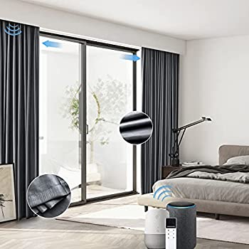 Graywind Motorized Blackout Curtain Set Smart Rod Remote Control Drapes Work with Alexa Google Home for Bedroom Office Living Room  Ice Grey Custom Size