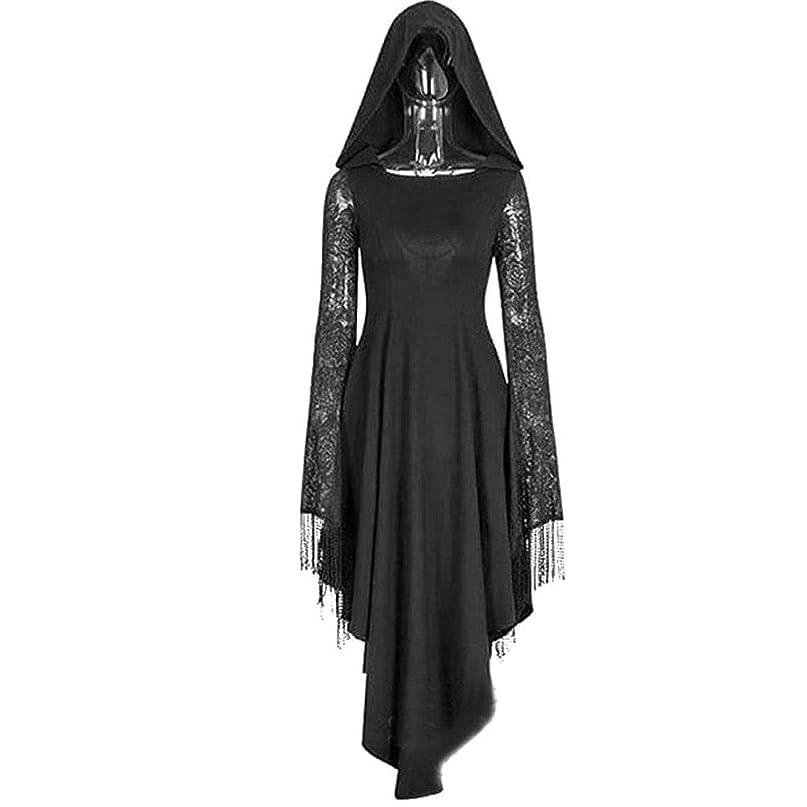 維持極めて困惑するハロウィン黒ゴシックスチームパンクゴースト魔女コスチューム大人女性のレースのフード付きのオープンバックホラークモの巣ガウンドレスカーニバル (Size : L)