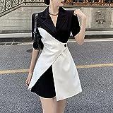 WRYIPSF Blazer Dress Femmes Korean Office Lady Irregular Designer Dress Summer Casual Elegant Black and White Patchwork Blazer Dress-Robes Noires Et Blanches_M