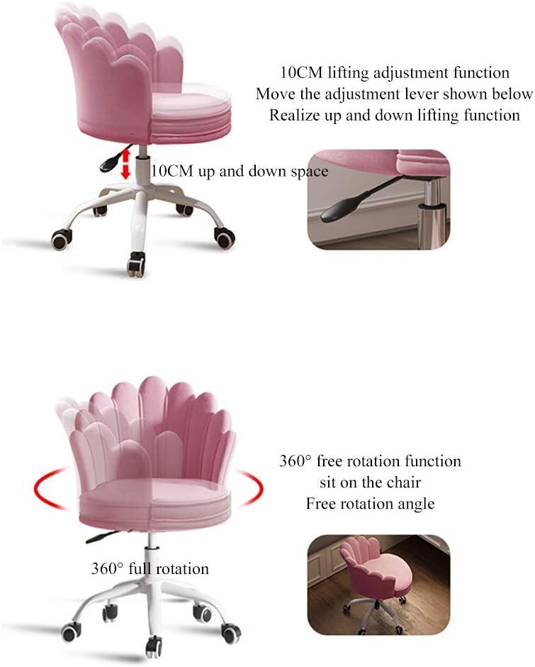 Chaise de Bureau en Velours, Tabouret de Bureau Chaise Pivotante Réglable en Hauteur Pivotante 360 Degrés pour Adultes et Enfants Blue