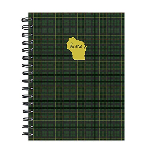 Wisconsin is Home Green Plaid Spiral Journal