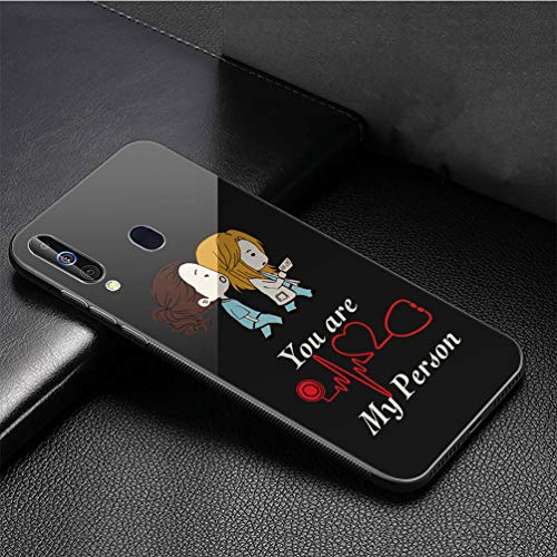 Luxury Phone Case for Samsung Galaxy A10 Cover,9H Tempered Glass Back Cover Soft Silicone Anti Scratch Bumper Design LB-84 Grey%27s Anatomy Protective Case