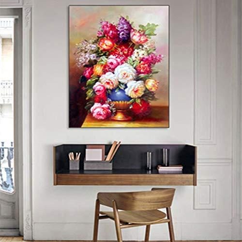 Canvas print bloemen kleurdruk canvas schilderij muurkunst decoratie muurkunst afbeelding woonkamer frameloos schilderwerk