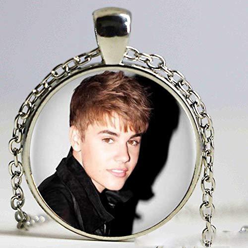 Collar con colgante de foto Singer Justin Bieber para mujer y hombre, cabujón vintage, cadena negra