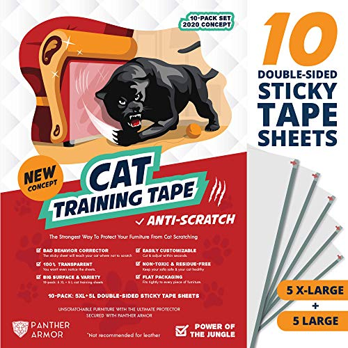 Panther Armor Cat Scratch Deterrent Tape – 10(Ten)-Pack – Double Sided Anti Cats Scratching...