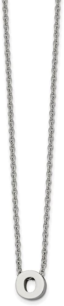 Solid Stainless Steel Letter O 2in Extension Pendant Necklace Charm Chain with Secure Lobster Lock Clasp