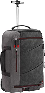 Cabin Max Manhattan 55x40x20 44L Hybrid Trolley Backpack Flight Approved Hand Luggage V2(Grey/Yellow) (Grey/Red)