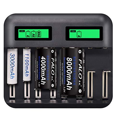 Rehomy 8 Slots LCD Display USB Batterijlader voor AA AAA C D Grootte Oplaadbare batterij