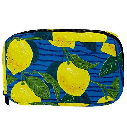 Bolsas de cosméticos madurar limones amarillos práctico neceser bolsa de viaje Oragniser bolsa de maquillaje para mujeres y niñas