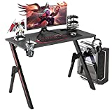 """GALAXHERO 43.3"""" Pro Gaming Desk, Gamer Computer Desk with Headphone Hook and Cup Holder, Home Office PC Workstation for E-Sports Use, Free XL Mouse Pad, Black&Red, GX-A"""