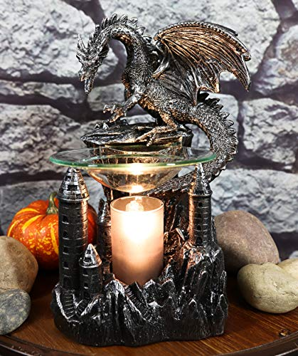 """Ebros Smaug Castle Guardian Dragon Electric Oil Burner Tart Warmer Aroma Scent Statue 9.5"""" Tall Figurine Dungeons and Dragons Decorative Decor for Aromatherapy Accessory Halloween Prop"""