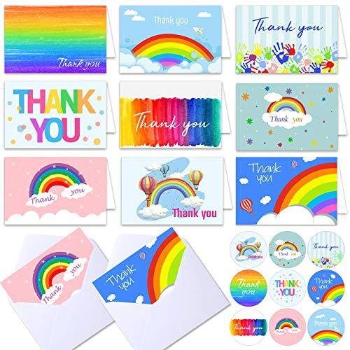 Ayamuba 45 Carte Biglietti di Ringraziamento Grazie Biglietto D'auguri con Buste e Buste Grazie Adesivi Cartoline di Ringraziamento Ideale per Matrimonio, Laurea, Baby Shower