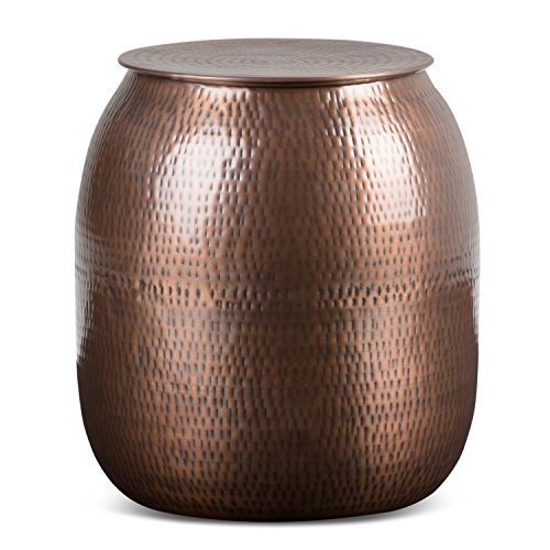 SIMPLIHOME Griffen Contemporary 19 inch Wide Metal Storage Accent Side Table in Antique Copper,...