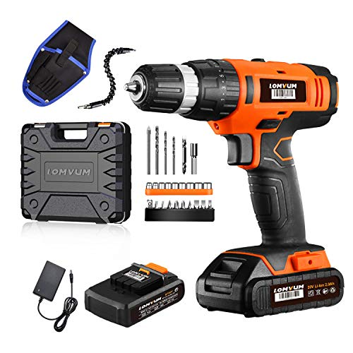 Lomvum 20V Cordless Impact Drill 8720T with 2 * 2.0Ah Li-Ion Batteries,2 Speed Hammer Drill Screwdriver 21 Torque with 27pcs Accessories and Compact Case