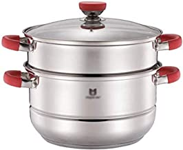 SHUUY Stainless Steel Double-layer Uncoated Steamer, Anti-corrosion, Wear-resistant, Suitable for all Induction Cookers (C...