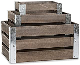 The Lucky Clover Trading Three Slat Wood Metal Corner-Set of 3 Crate, Brown