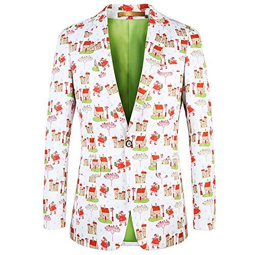 Story of life pak Kerstmis blazer casual print pak heren Santa patroon slim fit berm ladder alledaagse kleding vier seizoenen