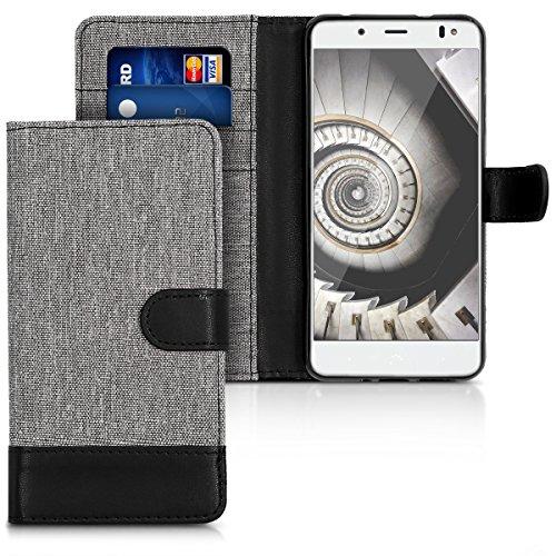 kwmobile Wallet Hülle kompatibel mit bq Aquaris V - Hülle mit Ständer - Handyhülle Kartenfächer Grau Schwarz