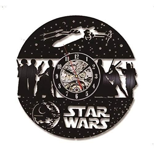 Realista y Divertido RECORRO DE MÚSICA DE VINIL MÚSICA Reloj DE Pared Negro Negro Round Star Wars CD Vinyl Recorrido Reloj DE Pared HUEBLO HUEGO Creativo Tiempo DE CD CD Reloj 3D Relojes de Colgantes