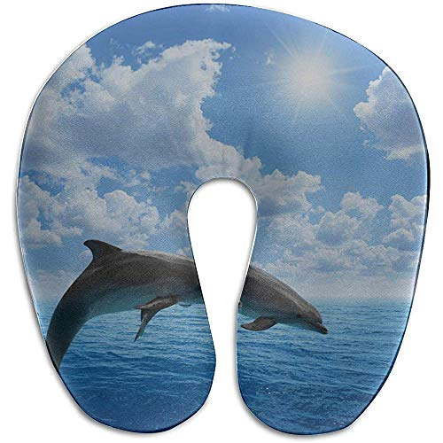 Warm-Breeze Almohada Soporte para el Cuello Salto Feliz Emocionado Delfín Almohada para el Cuello de Espuma con Memoria en Forma de U Almohada de Viaje La Almohada en U