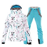 Women's Waterproof Ski Jacket Colorful Snowboard Jacket and Blue Bib Pant Suit(XS)