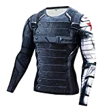 Cosfunmax Winter Soldier Shirt Super Hero Compression Sports Shirt Men's Long Sleeve Fitness Tee Gym T-Shirt L