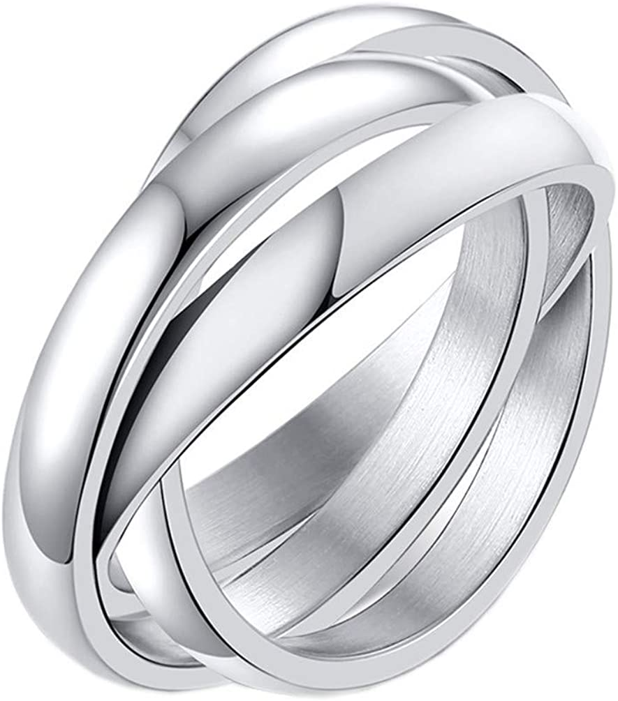 PAMTIER Women's 316l Stainless Steel Triple Band Interlocked Rolling 3 in 1 Stacking Ring
